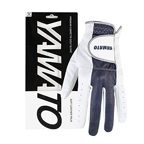Yamato Men's Golf Glove Left Hand , All Weather Golf Gloves Grips Soft Comfortable, Natural Premium Cabretta Leather Golf Gloves Men Perfect for Professional Golfer Left XL.