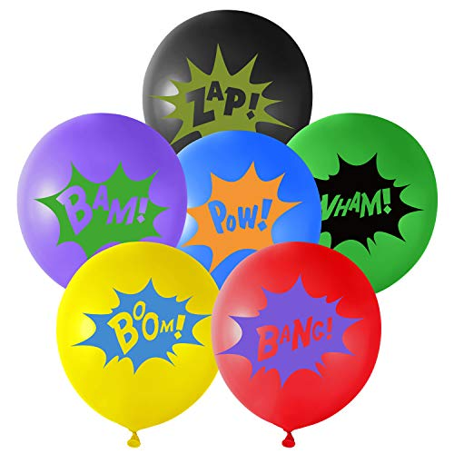 TUPARKA 18Pcs 6Farben Superhelden Party Ballons ,Multicolor Comic Slogans Ballons für Kinderpartys Geburtstag Superhelden Party Deko