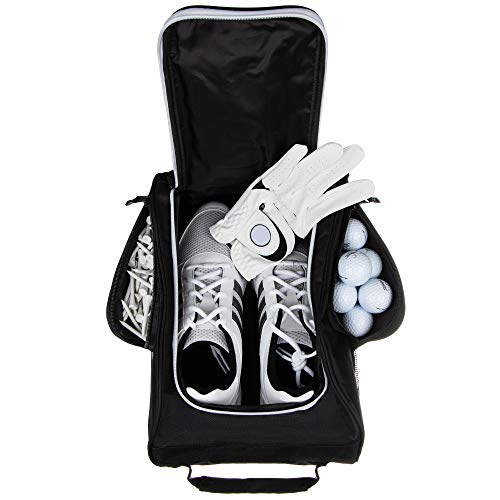 Stripe Golf Golf Shoe Bag - Zippered Golf Shoe Carrier Bag with Mesh Ventilation - Side Pockets for Golf Balls, Golf Glove, Tees and Other Golf Accessories