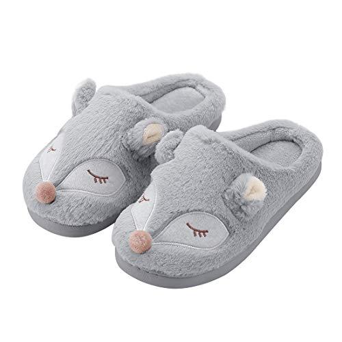 Kqpoinw Pantofole Invernali da Interno Scarpe Antiscivolo Regalo Natalizio per Donna e Uomo (36/37 EU, Grigio(Volpe))