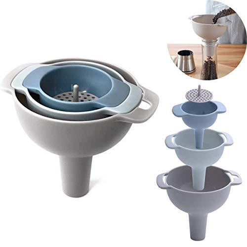 Imbuto multifunzione, imbuto multifunzione 4 in 1, kit imbuto multifunzione, set imbuto da cucina con manico in plastica e filtro estraibile