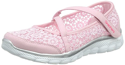 Skechers Mädchen Skech Flex 2.0 - Comfy Crochete Mary Jane Halbschuhe, Mehrfarbig (Pink/Silver), 31 EU