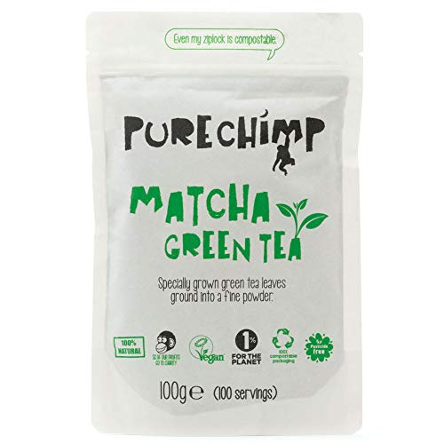 Té Verde Matcha en Polvo (Súper Té) 100g de PureChimp | Grado Ceremonial de Japón | Completamente Natural y Vegano | Libre de Pesticidas