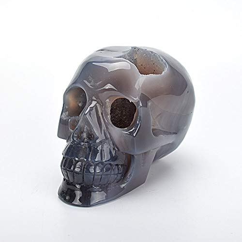 ZNYLX Escultura Realista Roca Cuarzo Cristal Cráneo Estatua Tallada Ágata Natural Geoda Reiki Curación Cristal Cráneo Arte Escultura Decoración para El Hogar