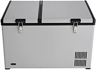 Whynter FM-901DZ 90 Quart Dual Zone Portable Fridge/Freezer with 12V Option and Wheels, Stainless Steel, One Size