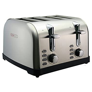 Cookmate Classic Stainless Steel 4-Slice Toaster - 7 Temperature Level - Extra Wide Slots - Digital Control Buttons, by Unity …
