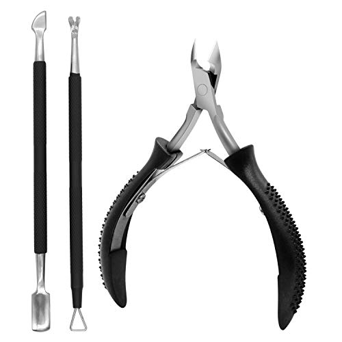 3PCS Anti-slip Handle Cuticle Trimmer with Cuticle Pusher and Triangle Cuticle Nail Pusher Peeler Scraper,Professional Stainless Steel Cuticle Nipper Set for Fingernails Toenails