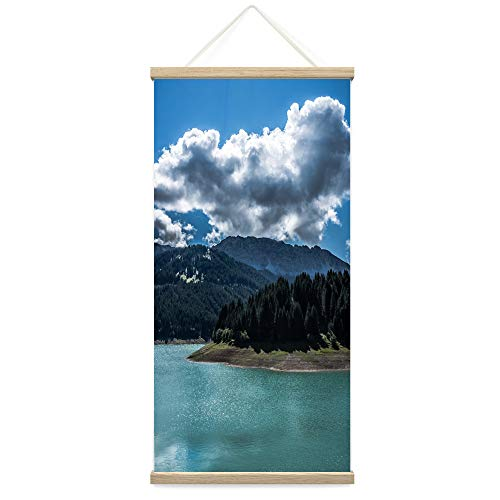"""Bestdeal Depot Hanging Poster Mountain Lake View XXX Global Landscape Mountain Multicolor Photography Relax/Calm Canvas Prints Wall Art for Living Room, Bedroom - 18""""x36"""""""