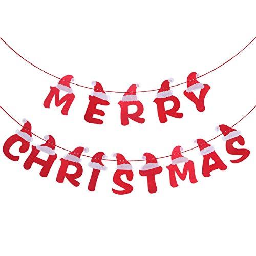 3.5 metros de tela DIY Merry Christmas Letter Banners Decoración con diseño de gorro de Papá Noel Guirnaldas de banderines navideños Adornos para árboles de Navidad Colgantes para el hogar Fiesta