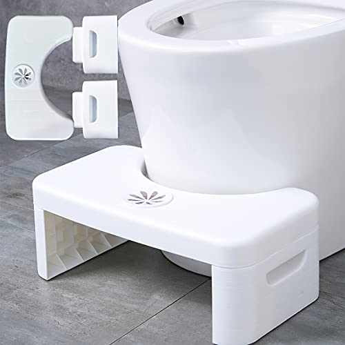 Bathroom Toilet Stool, Folding Multi-Function Toilet Stool Portable Step for Home Bathroom,with Aromatherapy Box,Convenient and Compact,White