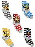TMNT Teenage Mutant Ninja Turtles Boys 5 pack Crew Style Socks Set (Shoe: 10-4...
