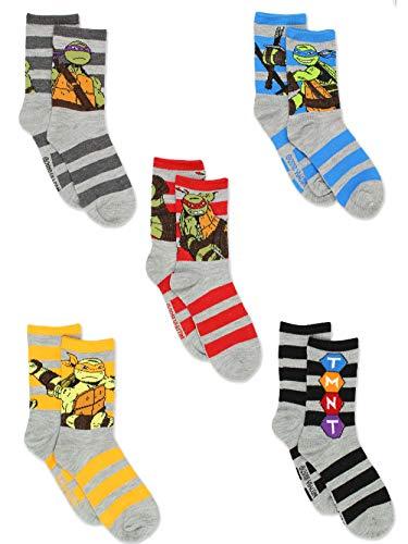 TMNT Teenage Mutant Ninja Turtles Boys 5 pack Crew Style Socks Set (Shoe: 10-4 (Sock: 6-8) Grey/Multi Crew)