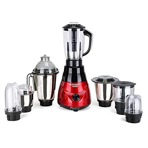 Sunmeet Kiaa hi tech Motor 1000W Mixer Grinder with 3 SStainless Steel Jars, Juicer Jars, 2 Bullet Jar and Chopper Jars, Black-RED.Make in India