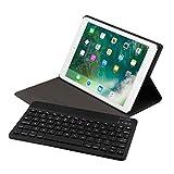"""【HAIKAU】 New iPad 9.7インチ(2018版、2017版) / iPad Pro 9.7インチ / Air2 / Air 兼用 bluetoothキーボード内蔵PUレザーケース 【USキーボード】 ワイヤレスキーボード 脱着式 スタンド機能付き オートスリープ機能搭載 超軽量 アイパッド Smart Keyboard CASE for iPad 9.7"""" 日本語操作説明書付き ブラック"""