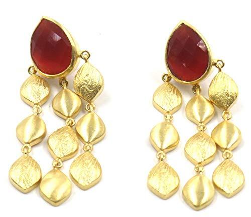 Jewelshingar Jewellery Fine Semi Precious Pink Agate Earrings For Women (52254URVI)