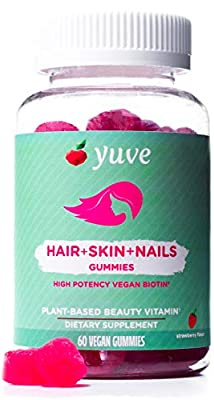 Yuve Natural Biotin 5000 mcg - for Longer, Stronger, Healthier Hair Growth - Glowing Skin and Strong Nails - Vegan, Non-GMO, Gluten and Gelatin Free - High Potency Vitamin B7 Supplement