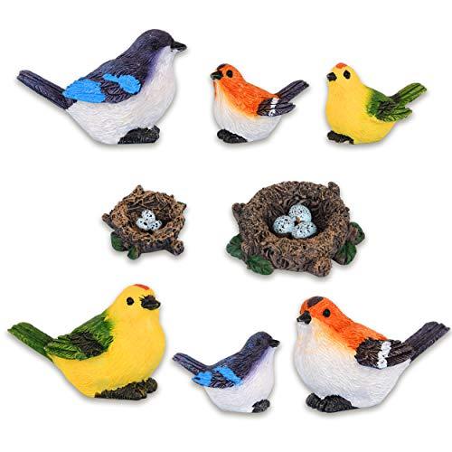 VAINECHAY Set di Decorazioni da Giardino in Miniatura Bird Decor - Uccelli Decorazione Resina Uccelli Animali Figurine Decorazione Prato Cortile Ornamenti da Giardino Resin Birds Animal Figurine