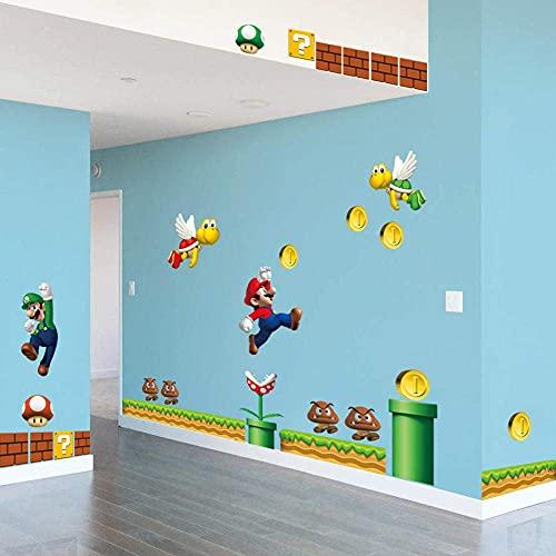 Super Mario Cartoon Wall Stickers Camera dei bambini Camera da letto Muro rotto Mario Adesivo in PVC rimovibile Murale…
