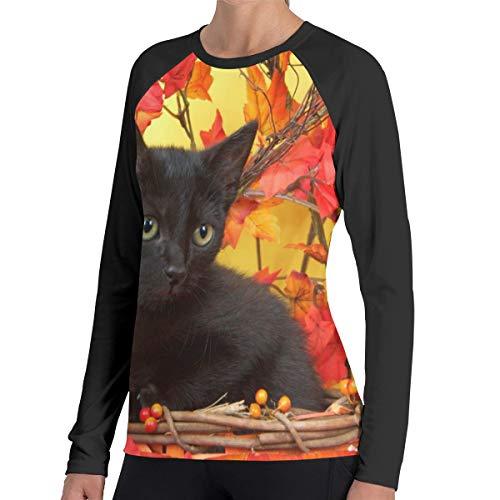 Fuzzy zwart kitten in rieten pompoen mand vrouwen Raglan zachte kleur blok honkbal lange mouw trui tuniek top T-shirts klassieke blouses top tee
