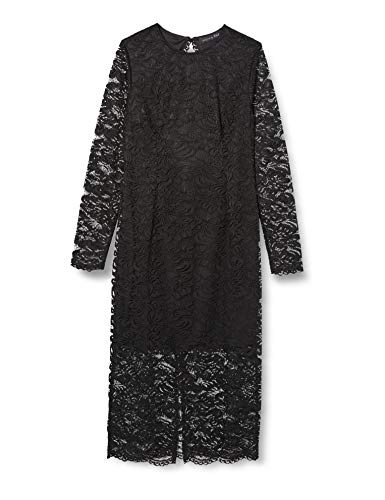 Marchio Amazon - TRUTH & FABLE Tubino Midi in Pizzo Donna, Nero (Black), 46, Label: L