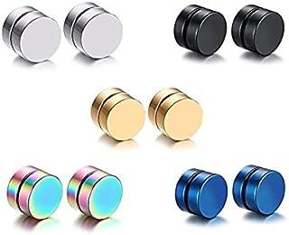Mens Womens Stainless Steel Magnetic Ear Stud Earrings 5 Pair/Set