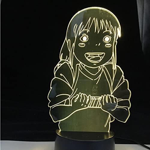 Luz De Noche 3D Anime Ogino Chihiro 7 Colores Lámpara 3D Luz De Noche Lámpara De Ilusión Óptica Acrílica Lámpara De Mesa Led Decoración Del Dormitorio Del Hogar
