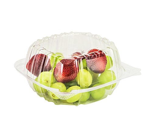 SafePro 6x6x3 Clear Hinged Lid Plastic Container, Square Cold Clamshell Container, (Case of 200)