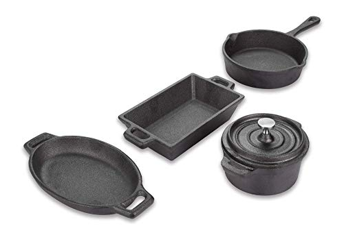 Valiant FIR554 Miniatur-Kochgeschirr-Set aus Gusseisen, 4-teilig, Schwarz, 4-Piece
