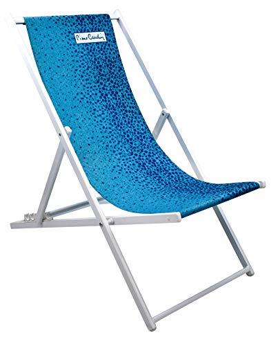 Pierre Cardin L.Tropic, Tumbona Plegable Marsella, Playa jardín Piscina, fantasía Tropical, Azul, 58 x 128 x 48, Talla única