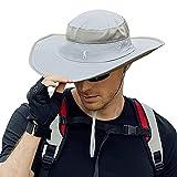 Cooltto Cappello da Pescatore da Uomo 12cm Tesa Larga Cappello da Pesca con Protezione UV UPF50+ Traspirante e Impermeabile per Estate Arrampicata Escursionismo Pesca-Grigio Chiaro