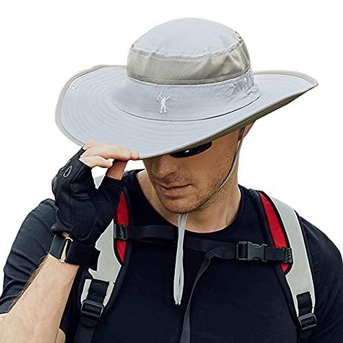 Cooltto Cappello da Pescatore da Uomo 10cm Tesa Larga Cappello da Pesca con Protezione UV UPF50+ Traspirante e Impermeabile per Estate Arrampicata Escursionismo Pesca-Grigio Chiaro