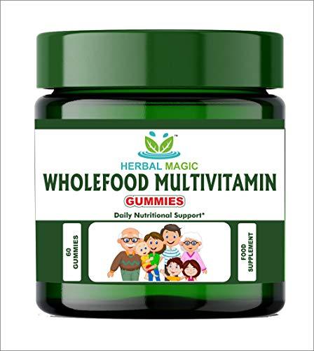Herbal Magic's Wholefood Multivitamin Gummies - Rich in Vitamin A B1 B3 B5 B6 Iron, Zinc, Magnesium - 30 Servings