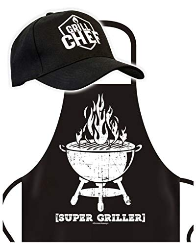 Schürze mit Cap - Super Griller- Grillschürze mit Basket-Kappe - Lustiger Spruch - Grill Set für die nächste Gartenparty