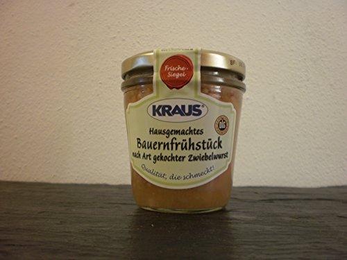 Hausgemachtes Bauernfrühstück nach Art gekochter Zwiebelwurst vom Metzger keine Industrieware Glas Konserven