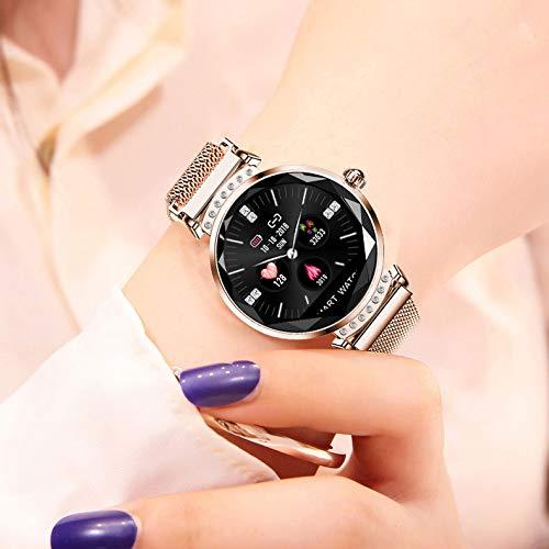 Weibliche Models Intelligentes Armband Farbbildschirm Runder Bildschirm Mode Gesundheit Sportuhr,Gold