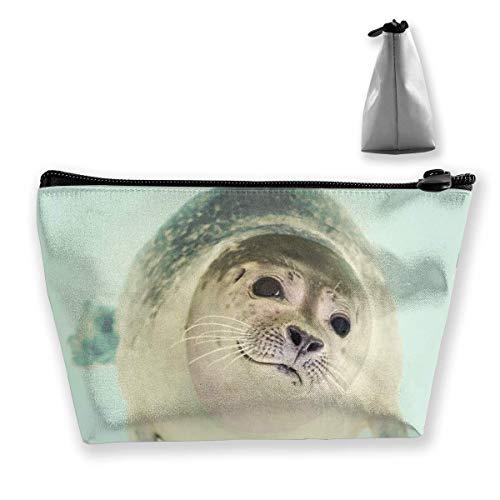 Sac à cosmétiques trapézoïdal, trousse de maquillage, trousse de toilette, lions de mer, sac de voyage, sac à main