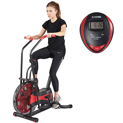 Care Fitness - Air Bike CA-700 - Crosstrainer Fahrrad mit 6 Trainingsprogramme - Elliptisches Indoor Bike mit Luftwiderstand - LCD Bildschirm - Air Fitnessgerät für zu Hause
