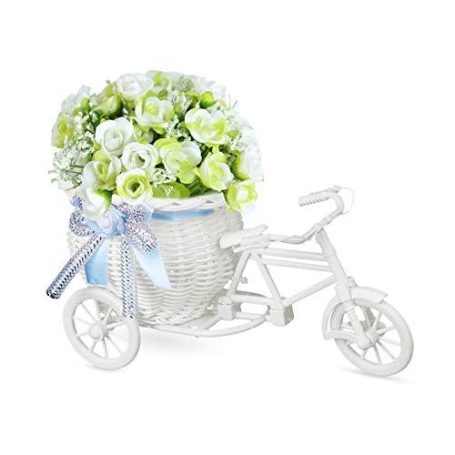 LdawyDE Fiori Artificiali, 1 Pezzo Fiori Artificiali in Vaso, Artificial Flowers in Pots, Fait de tissu de soie, avec 1 vase tricycle, pour les mariages, banquets, décorations, fêtes (bianca)