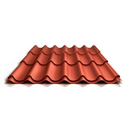 Pfannenblech | Ziegelblech | Dachziegelblech | Profil PS47/1060RT | Material Stahl | Stärke 0,50 mm | Beschichtung 25 µm | Farbe Kupferbraun