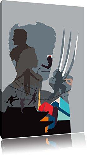 Wolverine Bild auf Leinwand, XXL riesige Bilder fertig gerahmt mit Keilrahmen, Kunstdruck auf Wandbild mit Rahmen, guenstiger als Gemaelde oder Bild, kein Poster oder Plakat, Format:60x40 cm