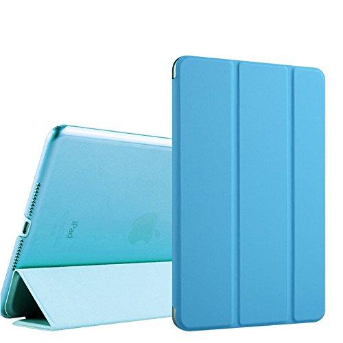 WiTa-Store Carcasa para Apple iPad 20179.7Pulgadas Ultra Slim Cover con Hard Case Parte Trasera Transparente y Auto Despertar y Dormir Función Turquesa Azul Claro