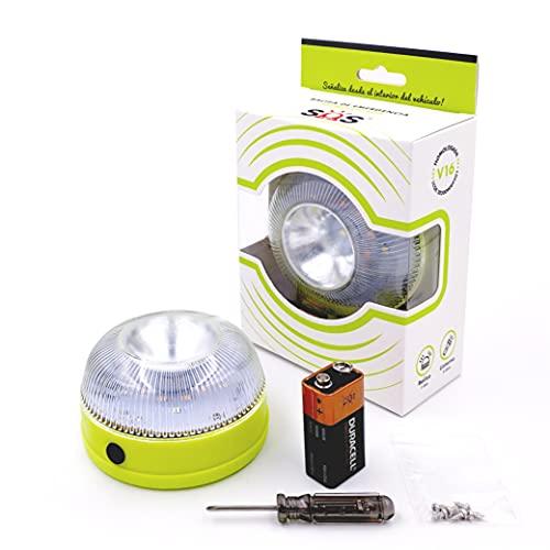 SOS Light señal V16 homologada con Doble función, luz de Advertencia para Coches con Linterna incluida, luz de avería, baliza de Emergencia Coche, de Acuerdo con los requisitos de la DGT