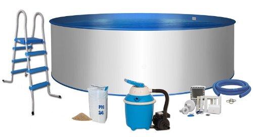 Pool Komfort Rundform Ø 3,5m x 1,2m Stahlwand 0,6mm Folie blau 0,6mm Keilbiese Stahlleiter 2 x 3 Stufen mit Plattform Sandfilteranlage Flow 4 mit 4,0m³/h Quarzfiltersand 25 KG 0,7 bis 1,2 Körnung Schlauchanschluss Set mit Schlauchschellen