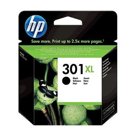 HP 301XL CH563EE Cartuccia Originale per Stampanti a Getto d'Inchiostro, Compatibile con DeskJet 1050, 2540 e 3050, OfficeJet 2620, 4630, Envy 4500 e 5530, Nero