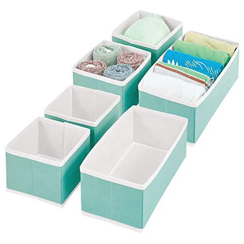 mDesign Kleiderschrank Organizer – Aufbewahrungskiste für die Schublade in verschiedenen Größen – Schrankbox aus Stoff zur Aufbewahrung von Socken, Unterwäsche, etc. – 6er-Set – türkis/weiß
