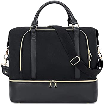 CAMTOP Women Ladies Travel Weekender Bag Overnight Duffel Carry-on Tote Bag with Luggage Sleeve fit 15.6 Inch Laptop Computer  Black with Shoe Compartment