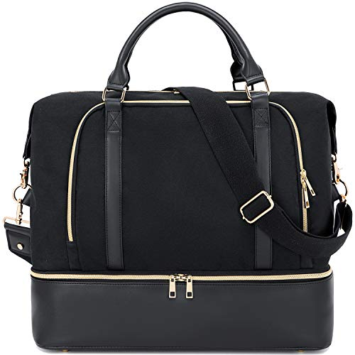 CAMTOP Women Ladies Travel Weekender Bag Overnight Duffel Carry-on Tote Bag with Luggage Sleeve fit 15.6 Inch Laptop Computer (Black with Shoe Compartment)