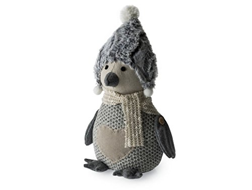 Blue Canyon Snowy Penguin Doorstop in Grey