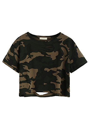 SweatyRocks Women's Short Sleeve Distressed Crop T-Shirt Summer Tops Camo Medium