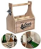LS-LebenStil Holz Bierträger Flaschenöffner 6 Flaschen Flaschenkorb Flaschenträger